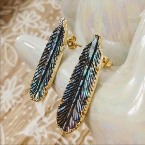Estrella & Luna Jewelry - Hand carved Abalone Feather and gold  Earrings
